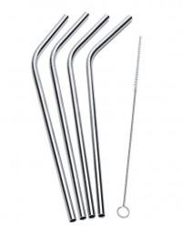 Funktion Sugerør m/knæk i stål 4-pak