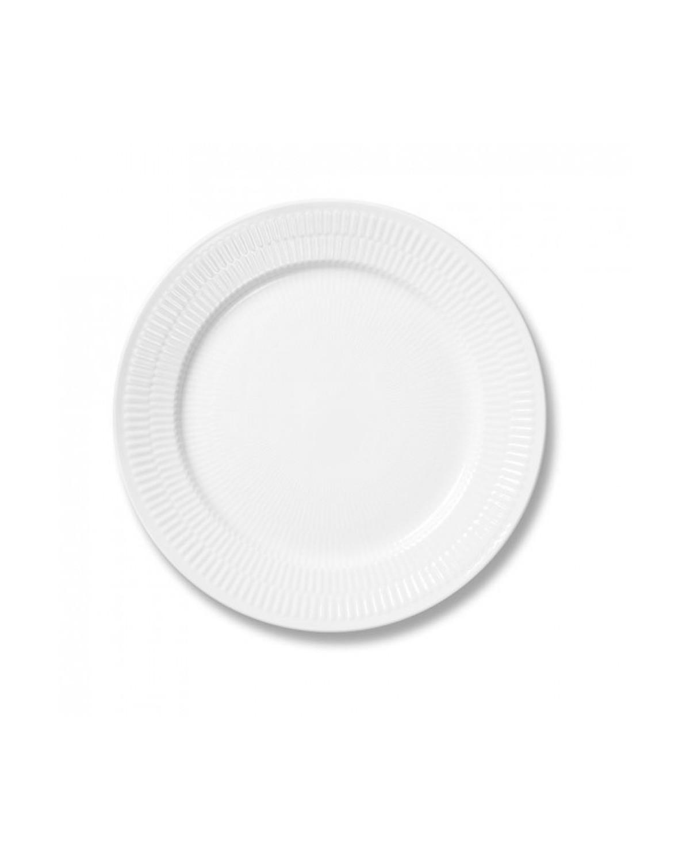 19 cm. Hvid Riflet desserttallerken